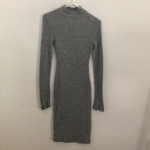 H&M Bodycon Dress Gray Shoulder Button Size Small